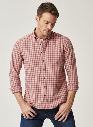 Altınyıldız Classics Tailored Slim Fit Dar Kesim Düğmeli Yaka Kareli Gömlek 4A2021100144 Kırmızı
